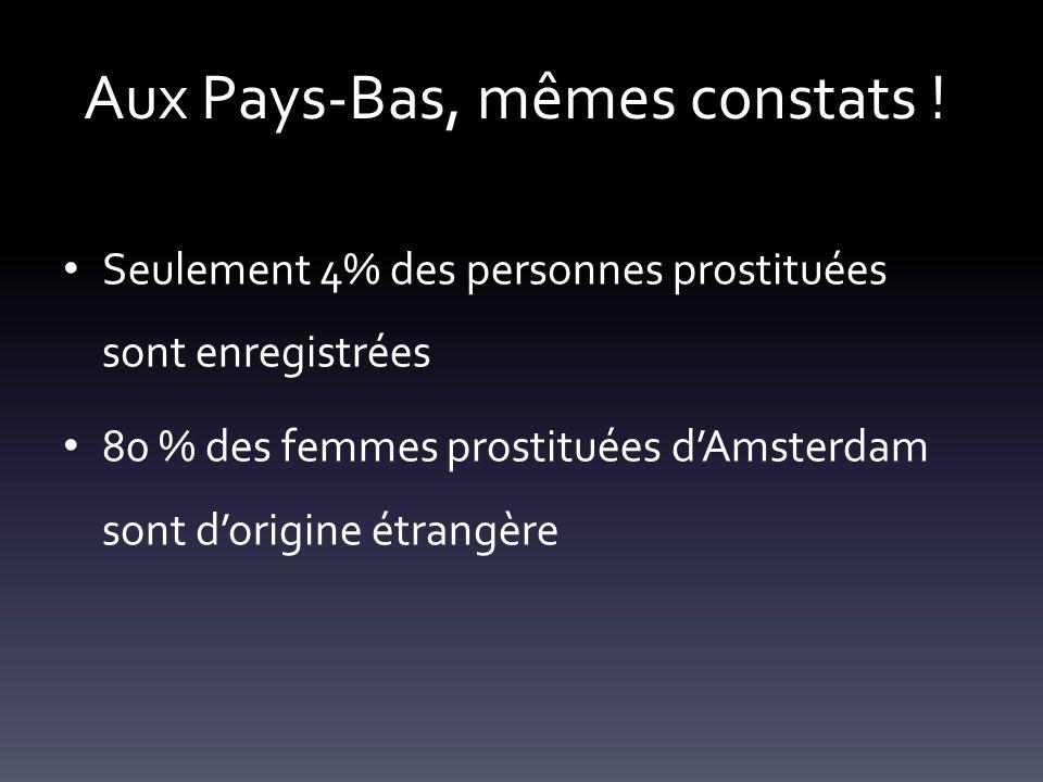 Aux Pays-Bas, mêmes constats ! Seulement 4% des personnes prostituées sont enregistrées 80 % des femmes prostituées dAmsterdam sont dorigine étrangère