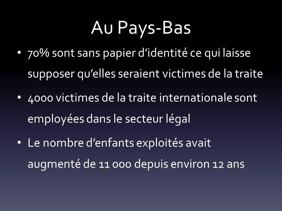 Au Pays-Bas 70% sont sans papier didentité ce qui laisse supposer quelles seraient victimes de la traite 4000 victimes de la traite internationale son