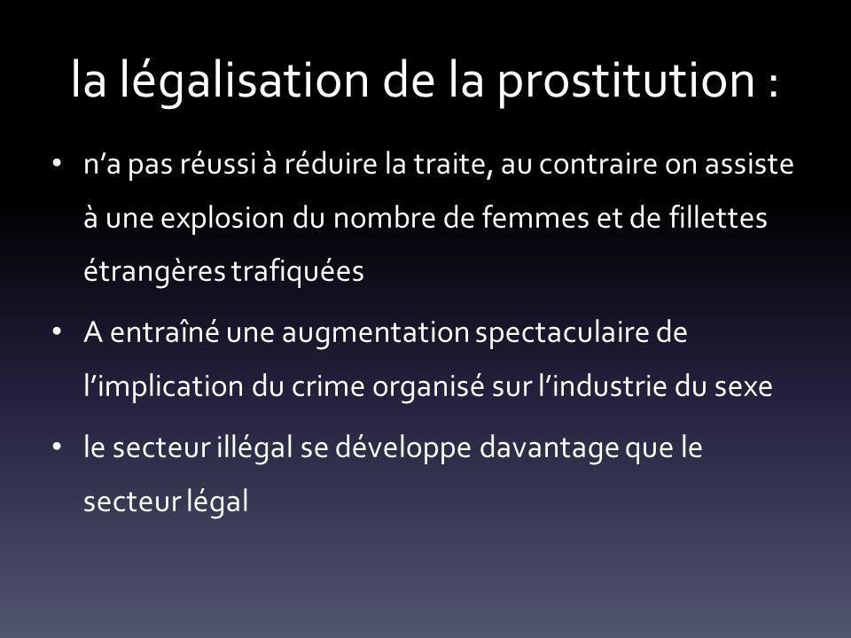 la légalisation de la prostitution : na pas réussi à réduire la traite, au contraire on assiste à une explosion du nombre de femmes et de fillettes ét