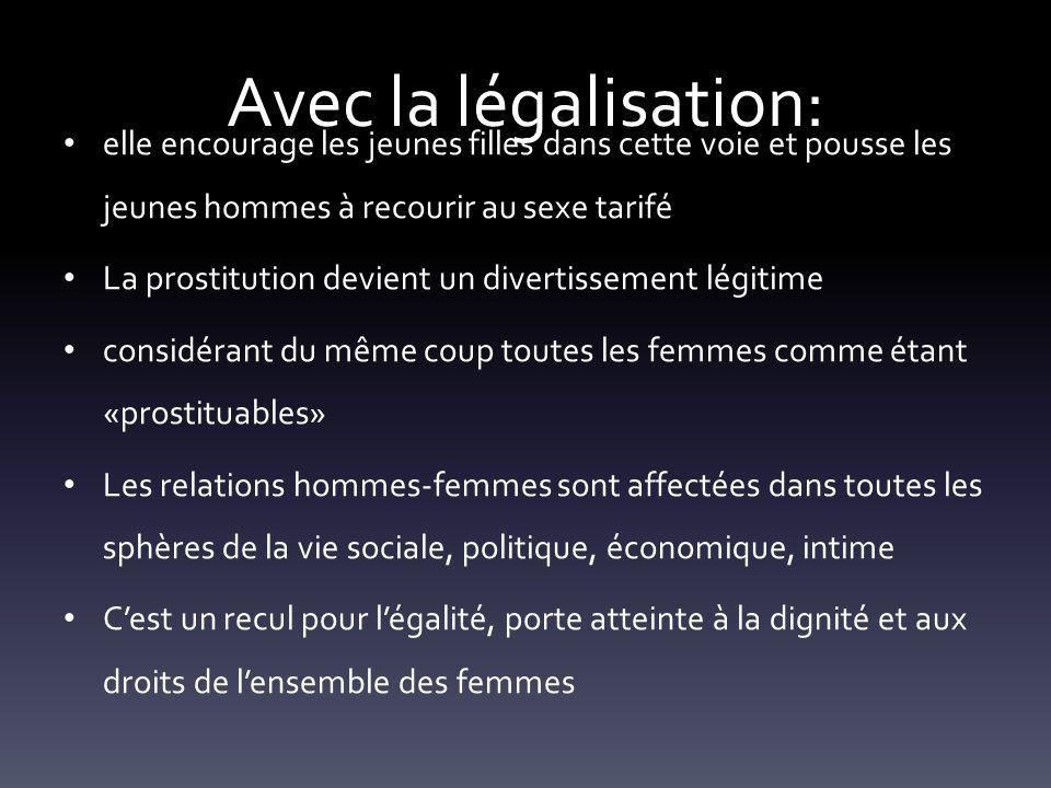 Avec la légalisation: elle encourage les jeunes filles dans cette voie et pousse les jeunes hommes à recourir au sexe tarifé La prostitution devient u