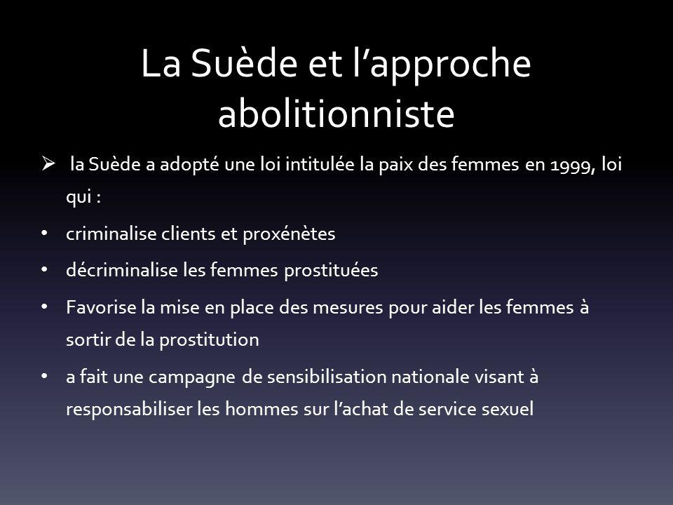 La Suède et lapproche abolitionniste la Suède a adopté une loi intitulée la paix des femmes en 1999, loi qui : criminalise clients et proxénètes décri
