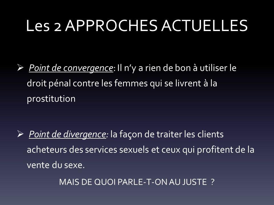 Les 2 APPROCHES ACTUELLES Point de convergence: Il ny a rien de bon à utiliser le droit pénal contre les femmes qui se livrent à la prostitution Point