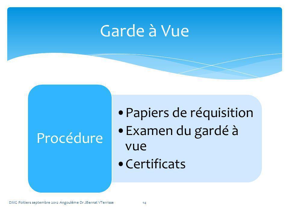 Papiers de réquisition Examen du gardé à vue Certificats Procédure DMG Poitiers septembre 2012 Angoulême Dr JBernat VTerrisse14 Garde à Vue