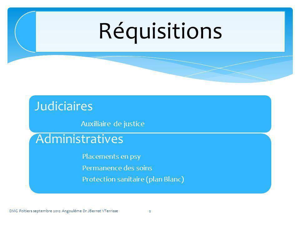 Judiciaires Auxiliaire de justice Administratives Placements en psy Permanence des soins Protection sanitaire (plan Blanc) DMG Poitiers septembre 2012 Angoulême Dr JBernat VTerrisse2 Réquisitions