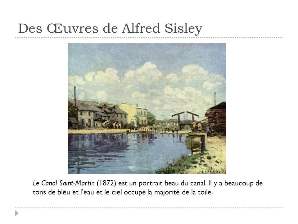 Des Œuvres de Alfred Sisley Le Canal Saint-Martin (1872) est un portrait beau du canal.