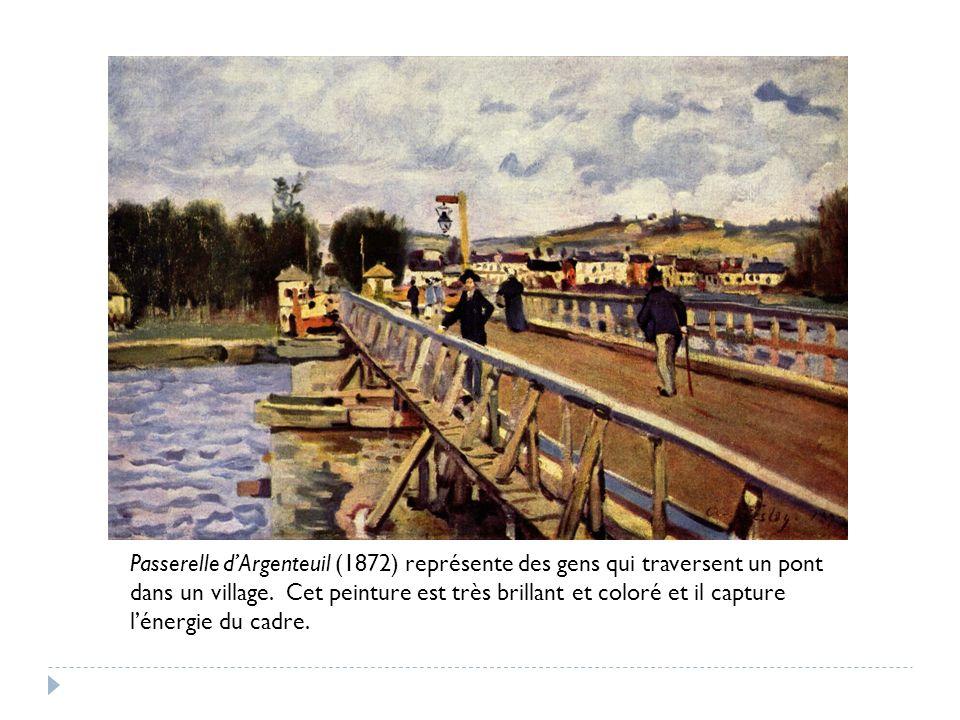 Passerelle dArgenteuil (1872) représente des gens qui traversent un pont dans un village.