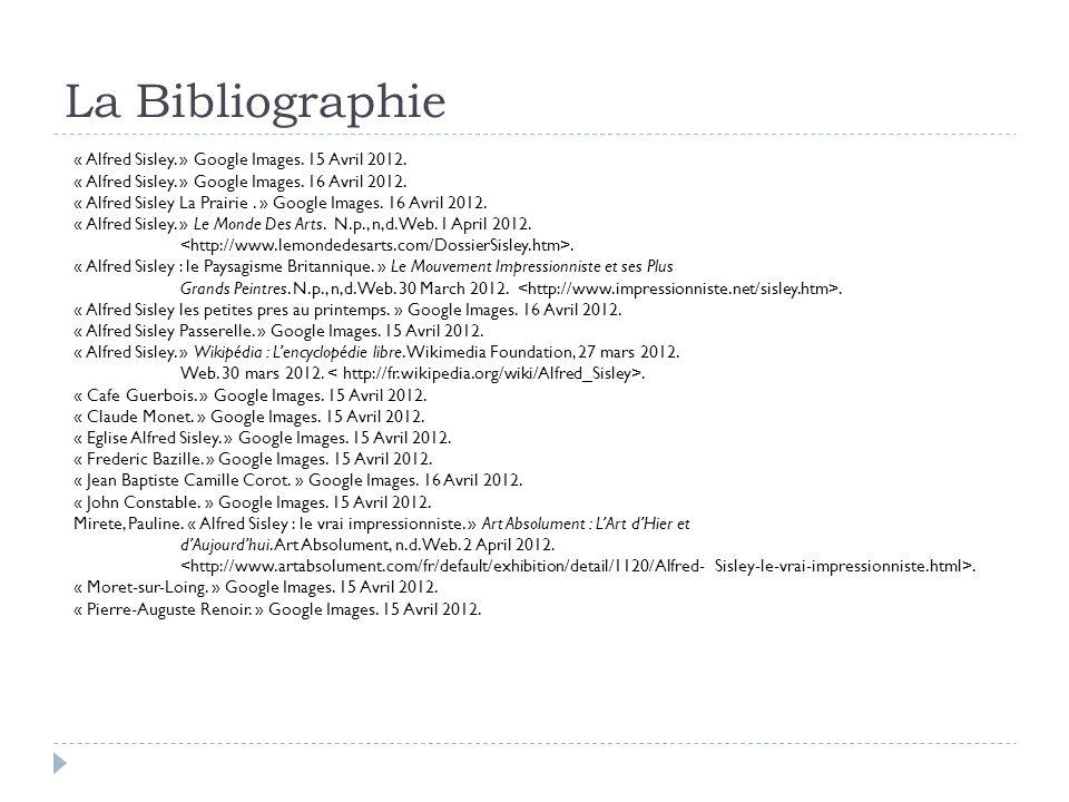La Bibliographie « Alfred Sisley.» Google Images.