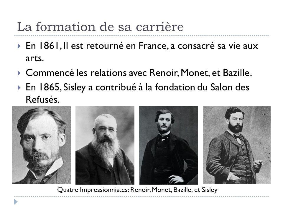 La formation de sa carrière En 1861, Il est retourné en France, a consacré sa vie aux arts.