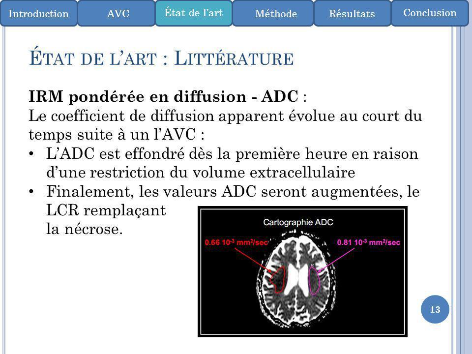 13 É TAT DE L ART : L ITTÉRATURE IntroductionMéthode ConclusionÉtat de lart AVCRésultats IRM pondérée en diffusion - ADC : Le coefficient de diffusion