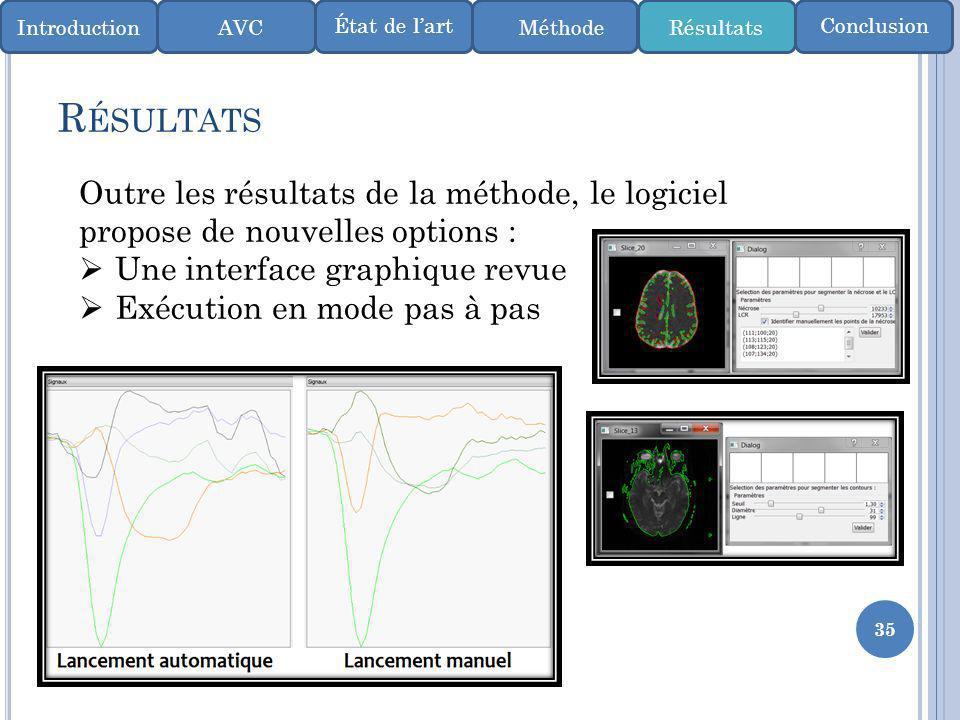 35 R ÉSULTATS IntroductionMéthode ConclusionÉtat de lart AVCRésultats Outre les résultats de la méthode, le logiciel propose de nouvelles options : Un