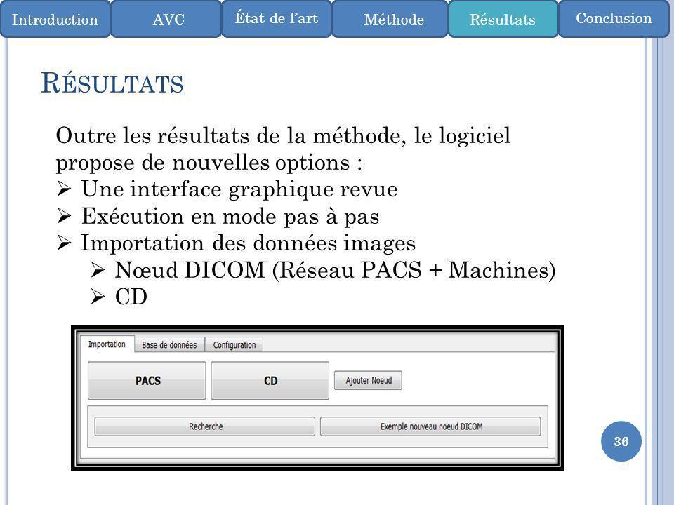 36 R ÉSULTATS IntroductionMéthode ConclusionÉtat de lart AVCRésultats Outre les résultats de la méthode, le logiciel propose de nouvelles options : Un