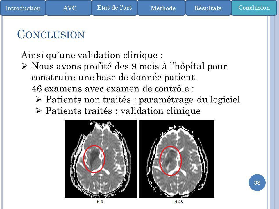 38 C ONCLUSION IntroductionMéthode ConclusionÉtat de lart AVCRésultats Ainsi quune validation clinique : Nous avons profité des 9 mois à lhôpital pour