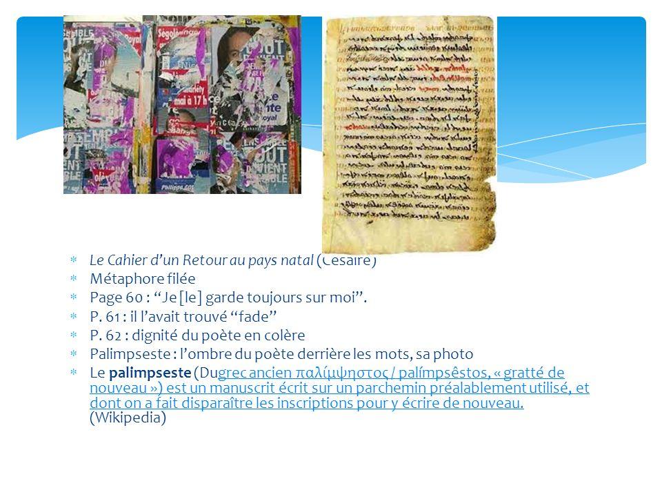 Le Cahier dun Retour au pays natal (Césaire) Métaphore filée Page 60 : Je [le] garde toujours sur moi.