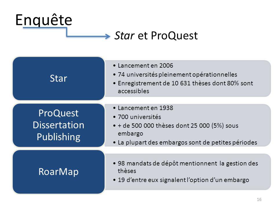 Enquête Lancement en 2006 74 universités pleinement opérationnelles Enregistrement de 10 631 thèses dont 80% sont accessibles Star Lancement en 1938 7