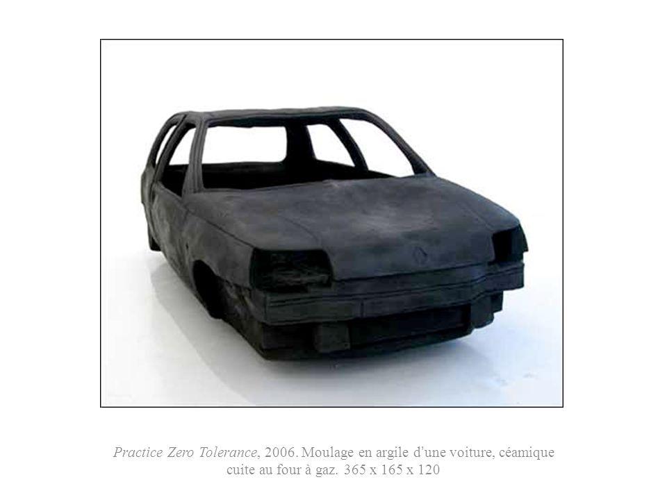 Practice Zero Tolerance, 2006. Moulage en argile dune voiture, céamique cuite au four à gaz. 365 x 165 x 120