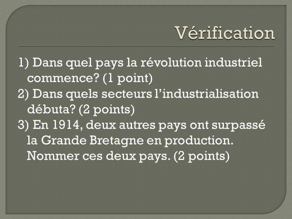1) Dans quel pays la révolution industriel commence? (1 point) 2) Dans quels secteurs lindustrialisation débuta? (2 points) 3) En 1914, deux autres pa