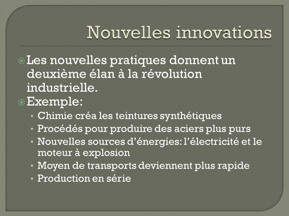 Les nouvelles pratiques donnent un deuxième élan à la révolution industrielle. Exemple: Chimie créa les teintures synthétiques Procédés pour produire