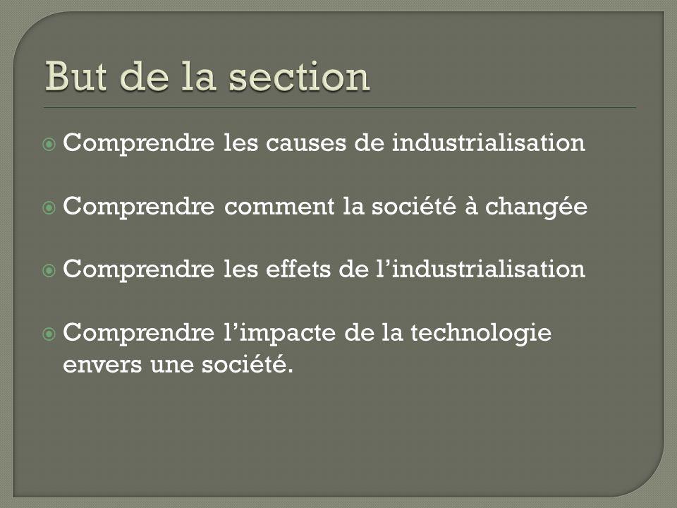 Comprendre les causes de industrialisation Comprendre comment la société à changée Comprendre les effets de lindustrialisation Comprendre limpacte de