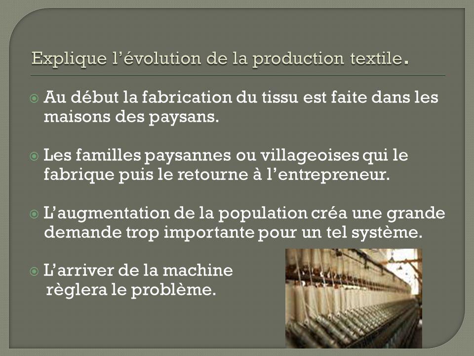 Au début la fabrication du tissu est faite dans les maisons des paysans. Les familles paysannes ou villageoises qui le fabrique puis le retourne à len