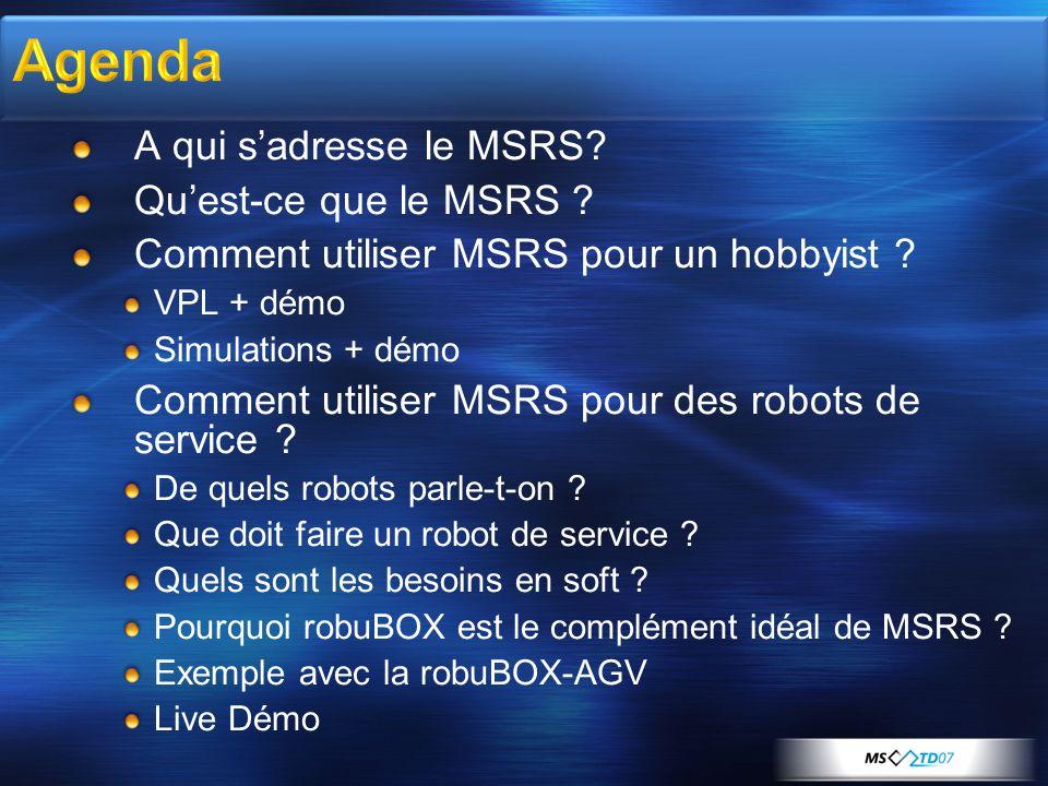A qui sadresse le MSRS? Quest-ce que le MSRS ? Comment utiliser MSRS pour un hobbyist ? VPL + démo Simulations + démo Comment utiliser MSRS pour des r