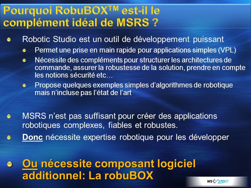 Robotic Studio est un outil de développement puissant Permet une prise en main rapide pour applications simples (VPL) Nécessite des compléments pour s