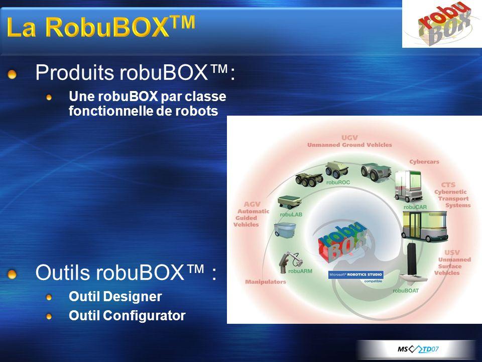 Produits robuBOX: Une robuBOX par classe fonctionnelle de robots Outils robuBOX : Outil Designer Outil Configurator