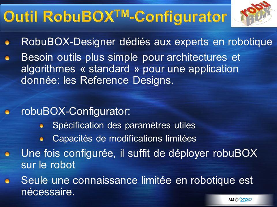 RobuBOX-Designer dédiés aux experts en robotique Besoin outils plus simple pour architectures et algorithmes « standard » pour une application donnée: