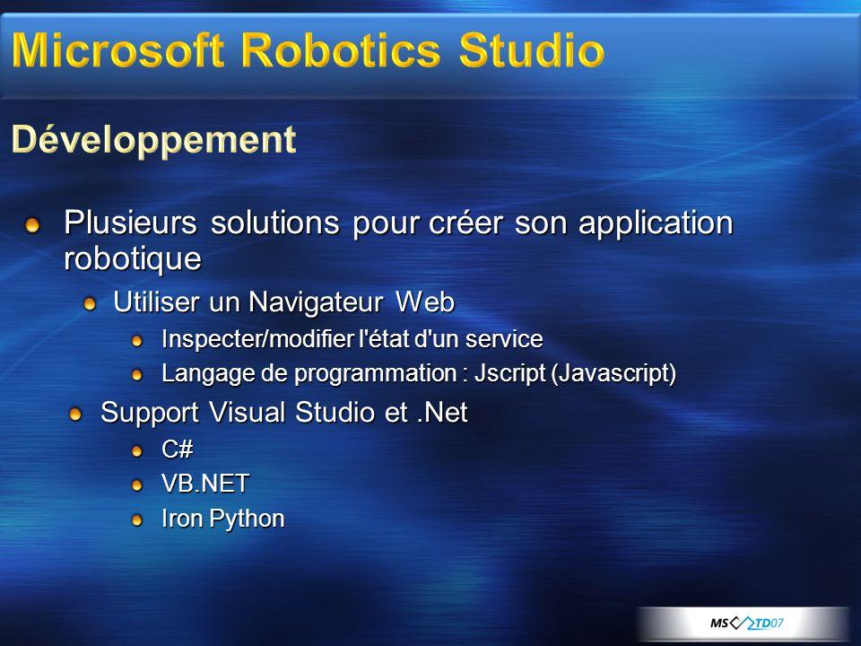 Le Robotics Studio – Microsoft: Couche structurante du soft du robot Abstraction: Interface avec OS Couches de communication Distribution multiprocesseurs La robuBOX TM – Robosoft: 20 ans dexpérience en robotique.