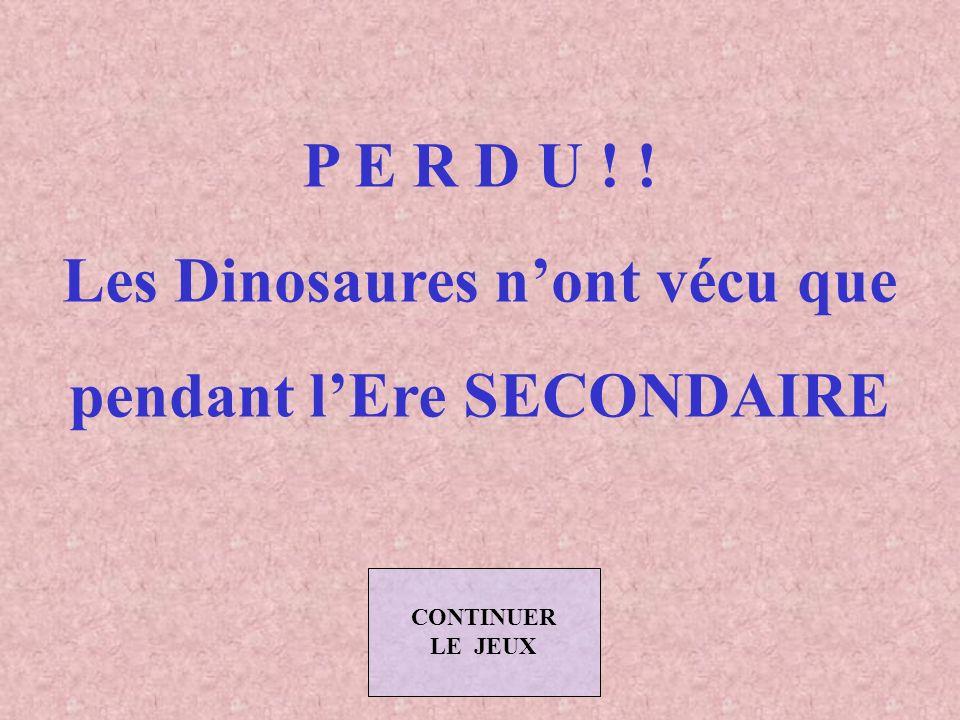 LES JEUX (Suite) Donner la bonne réponse en cliquant sur le bouton correspondant (Vous avez 45 secondes) Les Dinosaures ont vécu durant l Ere : TERTIAIRE PRIMAIRE SECONDAIRE CLIQUER CI-DESSOUS POUR ARRETER LE JEU