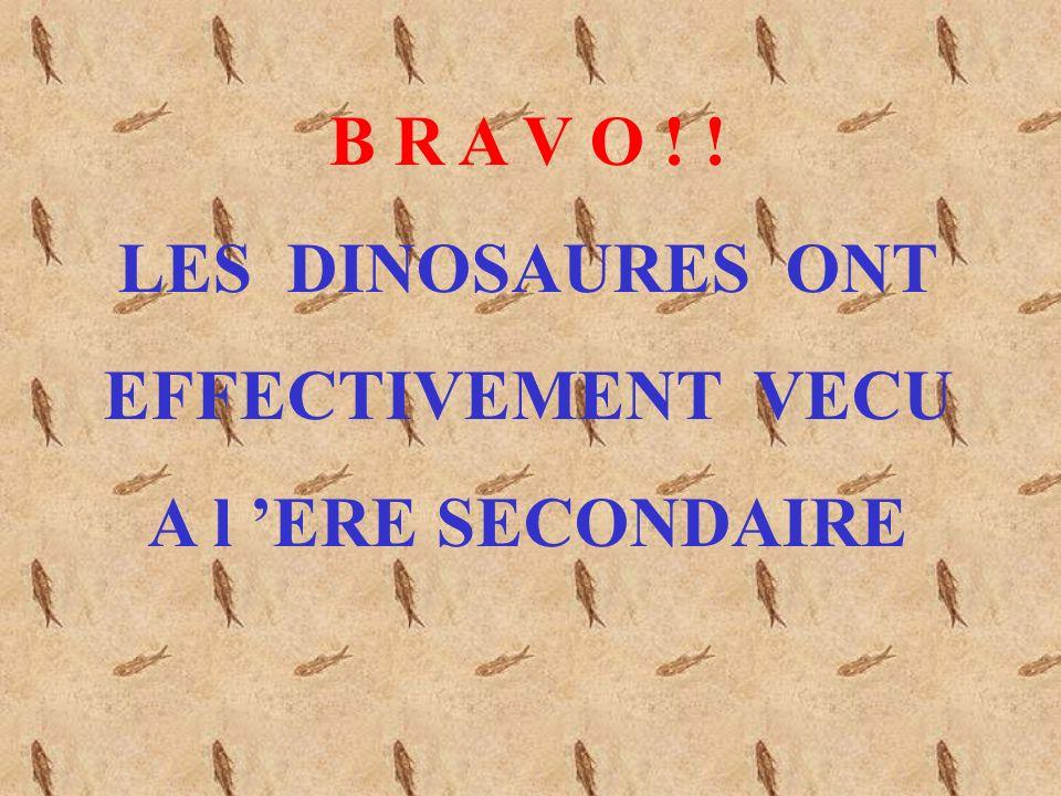 P E R D U ! ! Les Dinosaures nont vécu que pendant lEre SECONDAIRE CONTINUER LE JEUX