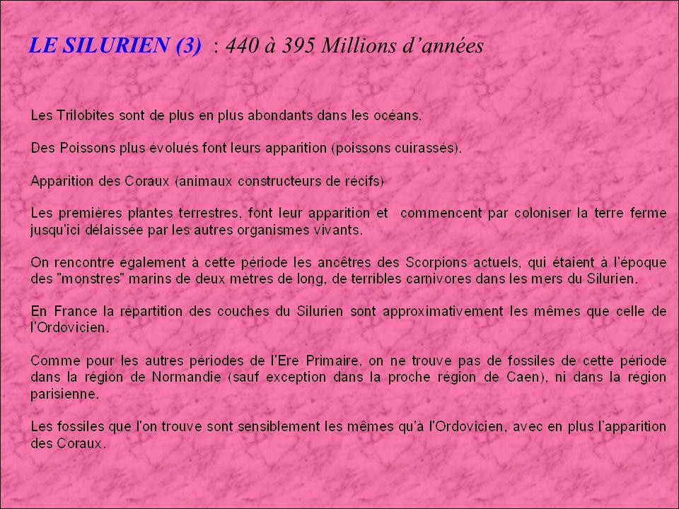LE SILURIEN (2) : 440 à 395 Millions dannées POISSONS DU SILURIEN
