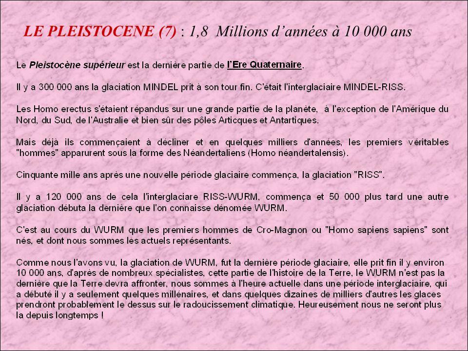 LE PLEISTOCENE (6) : 1,8 Millions dannées à 10 000 ans