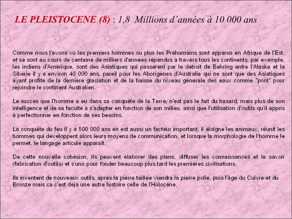LE PLEISTOCENE (7) : 1,8 Millions dannées à 10 000 ans