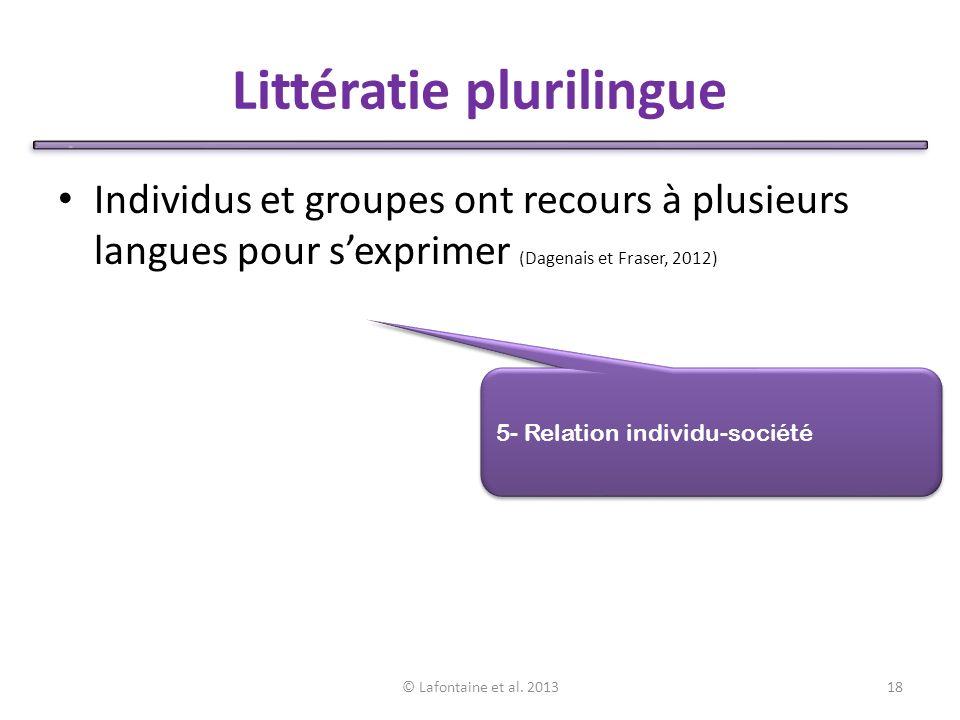 Littératie plurilingue Individus et groupes ont recours à plusieurs langues pour sexprimer (Dagenais et Fraser, 2012) © Lafontaine et al.