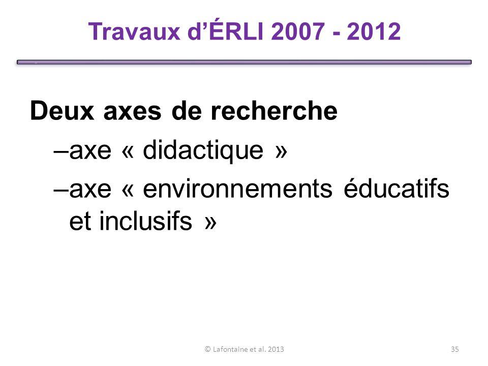 Deux axes de recherche –axe « didactique » –axe « environnements éducatifs et inclusifs » © Lafontaine et al.