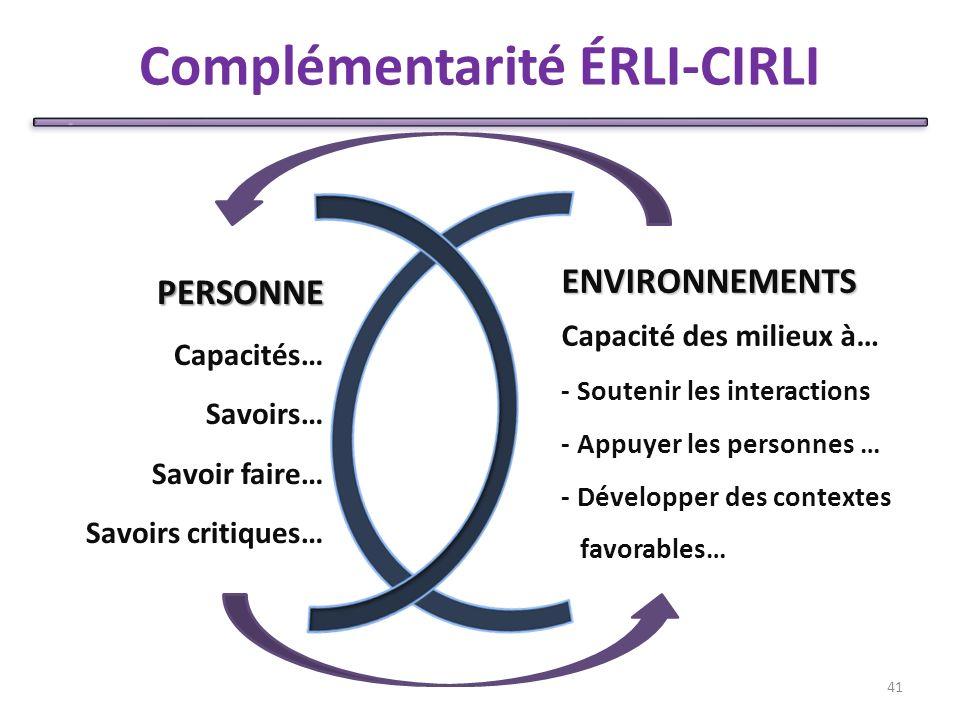 Complémentarité ÉRLI-CIRLI 41 PERSONNE Capacités… Savoirs… Savoir faire… Savoirs critiques… ENVIRONNEMENTS Capacité des milieux à… - Soutenir les interactions - Appuyer les personnes … - Développer des contextes favorables…