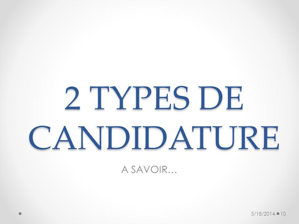 2 TYPES DE CANDIDATURE A SAVOIR… 5/18/201410