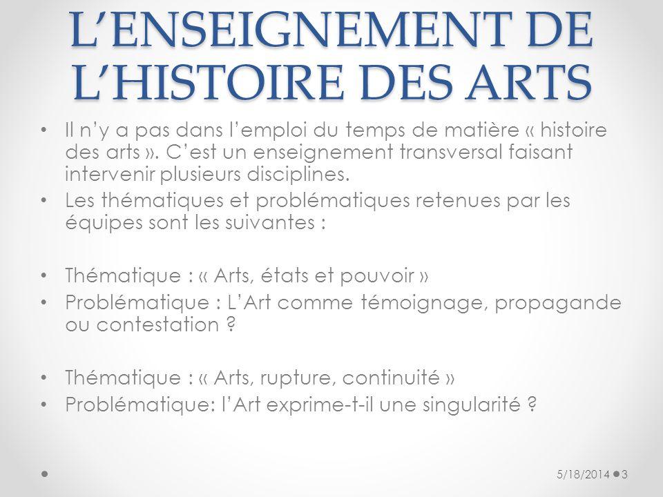 LENSEIGNEMENT DE LHISTOIRE DES ARTS Il ny a pas dans lemploi du temps de matière « histoire des arts ». Cest un enseignement transversal faisant inter
