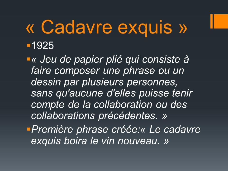 « Cadavre exquis » 1925 « Jeu de papier plié qui consiste à faire composer une phrase ou un dessin par plusieurs personnes, sans qu aucune d elles puisse tenir compte de la collaboration ou des collaborations précédentes.