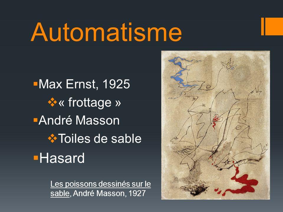 Automatisme Max Ernst, 1925 « frottage » André Masson Toiles de sable Hasard Les poissons dessinés sur le sable, André Masson, 1927