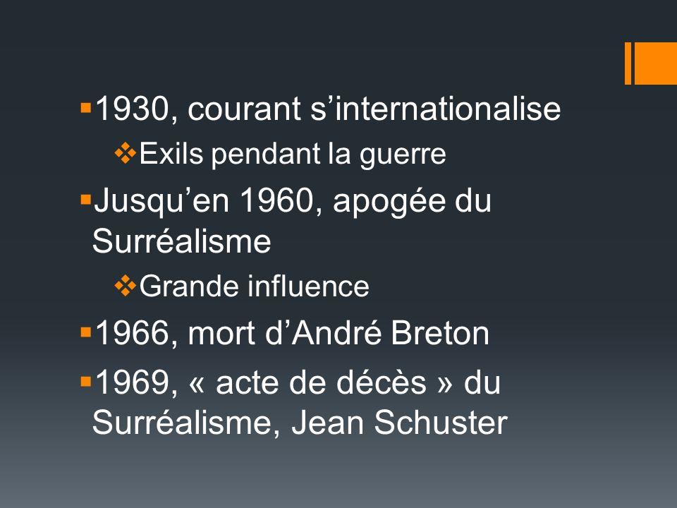 1930, courant sinternationalise Exils pendant la guerre Jusquen 1960, apogée du Surréalisme Grande influence 1966, mort dAndré Breton 1969, « acte de décès » du Surréalisme, Jean Schuster