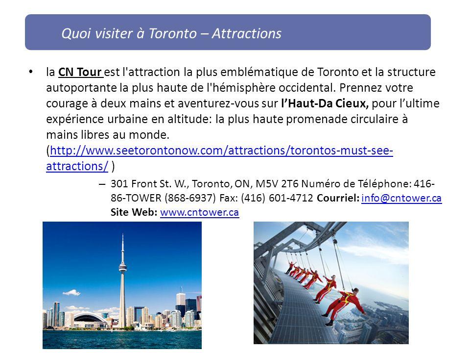 la CN Tour est l'attraction la plus emblématique de Toronto et la structure autoportante la plus haute de l'hémisphère occidental. Prennez votre coura
