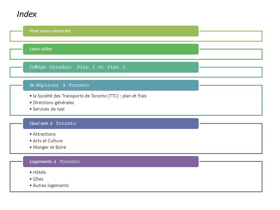 Index Pour nous contacterLiens utilesColl ège Glendon: Plan 1 et Plan 2 la Société des Transports de Toronto (TTC) : plan et frais Directions générale