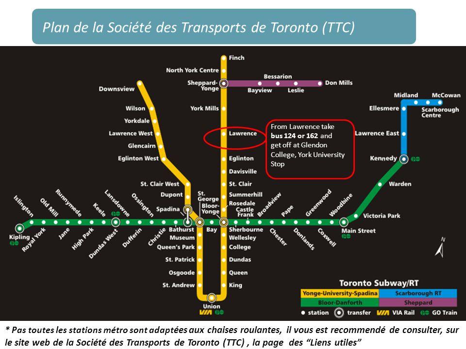 Plan de la Société des Transports de Toronto (TTC) From Lawrence take bus 124 or 162 and get off at Glendon College, York University Stop * Pas toutes
