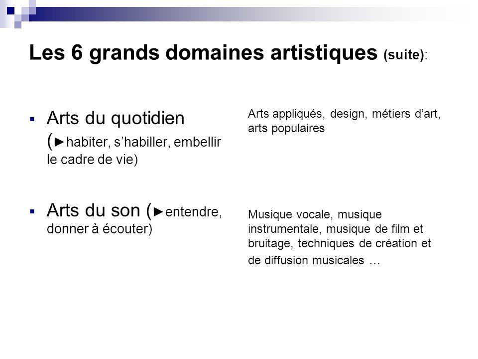 Les 6 grands domaines artistiques (suite): Arts du quotidien ( habiter, shabiller, embellir le cadre de vie) Arts du son ( entendre, donner à écouter)