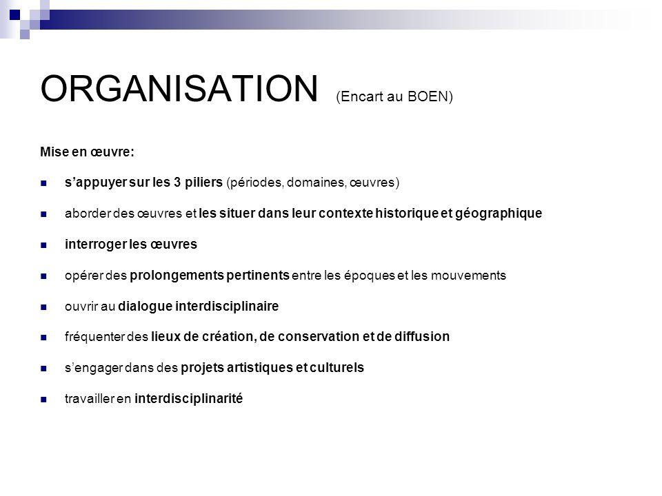 ORGANISATION (Encart au BOEN) Mise en œuvre: sappuyer sur les 3 piliers (périodes, domaines, œuvres) aborder des œuvres et les situer dans leur contex