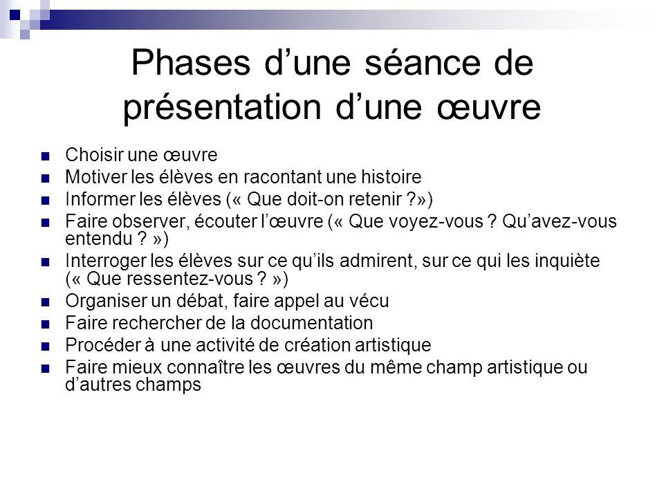 Phases dune séance de présentation dune œuvre Choisir une œuvre Motiver les élèves en racontant une histoire Informer les élèves (« Que doit-on reteni