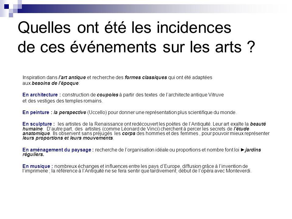 Quelles ont été les incidences de ces événements sur les arts ? Inspiration dans lart antique et recherche des formes classiques qui ont été adaptées