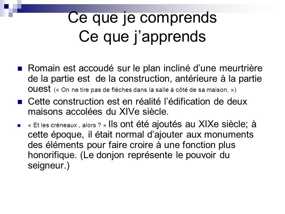 Ce que je comprends Ce que japprends Romain est accoudé sur le plan incliné dune meurtrière de la partie est de la construction, antérieure à la parti