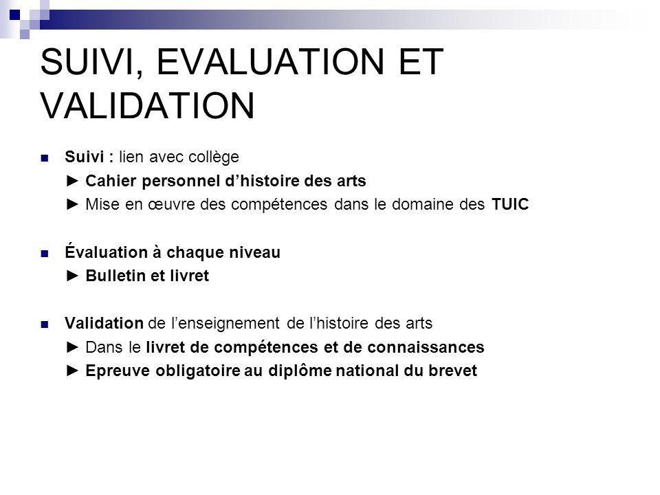 SUIVI, EVALUATION ET VALIDATION Suivi : lien avec collège Cahier personnel dhistoire des arts Mise en œuvre des compétences dans le domaine des TUIC É